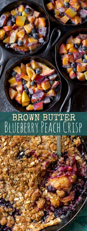 I guarantee any crisp you make this summer will be 150% tastier if you add brown butter!! Blueberry peach crisp by sallysbakingaddiction #Crisp #Blueberry #Peach #Brown_Butter