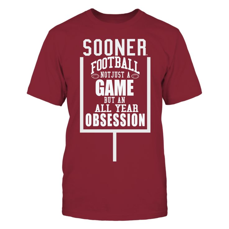 Okla Sooners Football - It's an Obsession T-Shirt, *Oklahoma Sooner Football Clothing for the Ultimate Fan * It's not just a game, it's an Obsession Cheer on your Okla University Football  on college football Saturdays. Oklahoma University gear available in custom design t-shirts, tank tops and Sooner Hoodies for the cool evening night games.... The Oklahoma Sooners Collection, OFFICIAL MERCHANDISE  Available Products:          Gildan Unisex T-Shirt - $25.95 Gildan Unisex Pullover Hoodie…