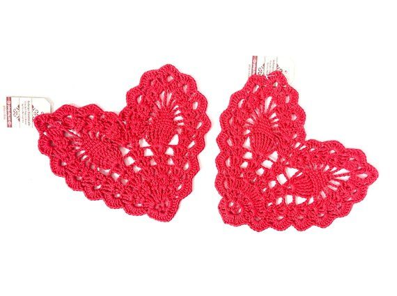 Handmade crochet red heart small romantic doily//coaster Valentine/'s day gift