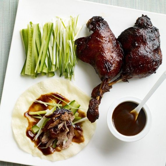 Crispy duck pancakes recipe - Woman And Home- use gluten free hoi sin sauce (e.g. from Itsu) and rice flour pancakes (e.g. from Blue Dragon)  to make it gluten free
