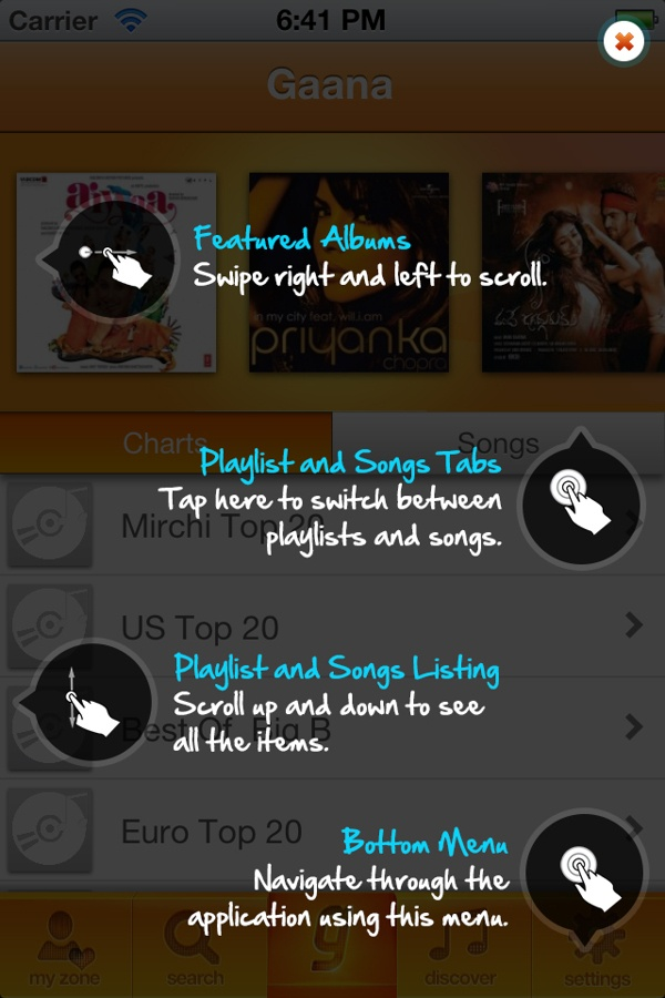Gaana music app: Tutorials, coach marking by shailey shankar, via Behance