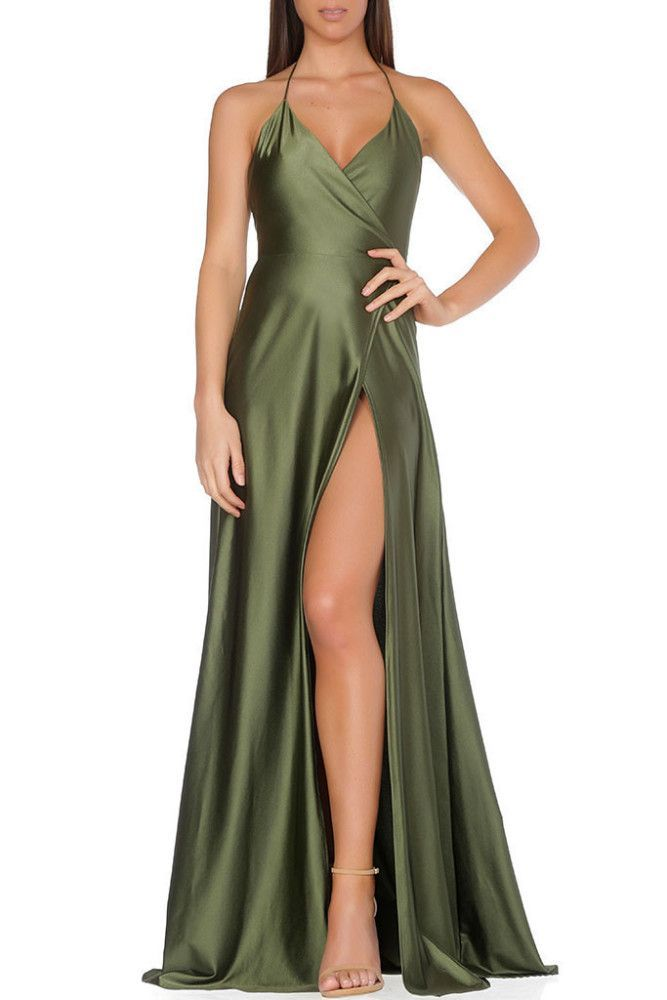 Splurge: Karrueche Tran's Rap Up x Hennessy Event Just Enaj Femma LA Olive Green High Slit Evening Gown