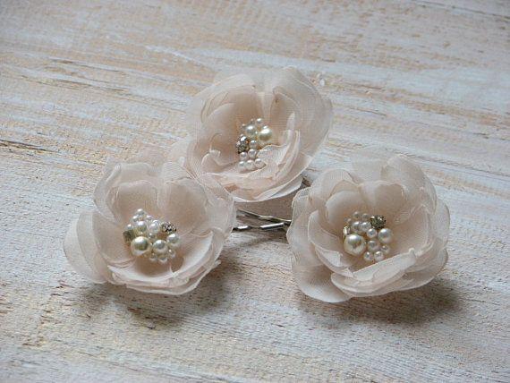 Cream hair pins Champagne hair flower by WhiteBridalBoutique