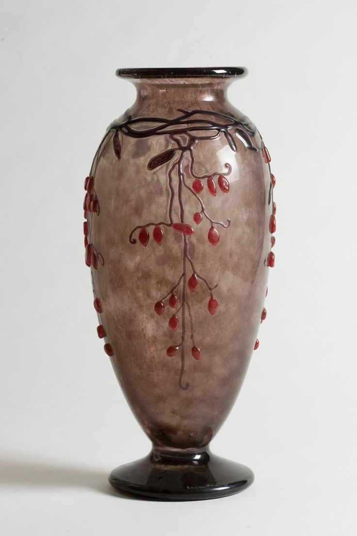 ** Daum Frères, Nancy, Acid Etched and enameled Glass Vase.