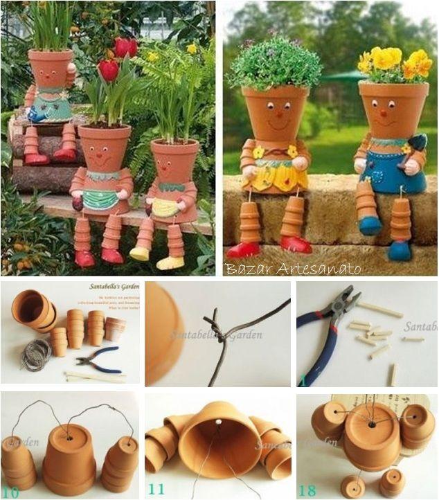 Passo a passo: Bonecos de jardim, de vasos de barro... um encanto.  https://www.facebook.com/BazarArtesanato: Garden Ideas, Flower Pots, Gardening, Claypot, Craft Ideas, Pot People, Clay Pots, Flowerpot, Crafts