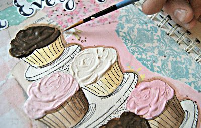 """Mixed Media Art Journaling tutorial, use molding paste to make """"frosting""""   why didn't I think of this?"""