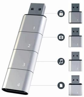 Check out this innovative USB. The memory concept allows to break your USB stick into compartments, allowing you to store different data on each. Files on the device can easily sorted due to the category based partitions.