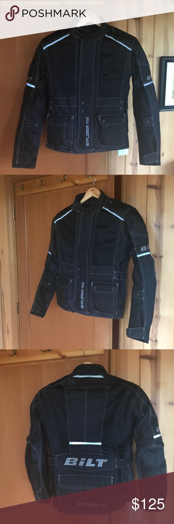 Bilt Motorcycle Jacket, Brand New Bilt brand motorcycle jacket, black, men's size small. Like new condition. Literally used one time for a 3 hour ride. This jacket is so nice and super warm.   Follow this link for specs: https://www.cyclegear.com/gear/bilt-explorer-adventure-waterproof-jacket  I'm 5'10/140 and a woman and this fit me perfectly.    Regularly $399.99 I paid $199.99 on sale Selling for $125 !!! Bilt Jackets & Coats