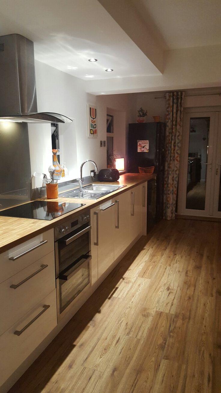 My budget kitchen made up of B&Q kitchen cupboards, floor ...
