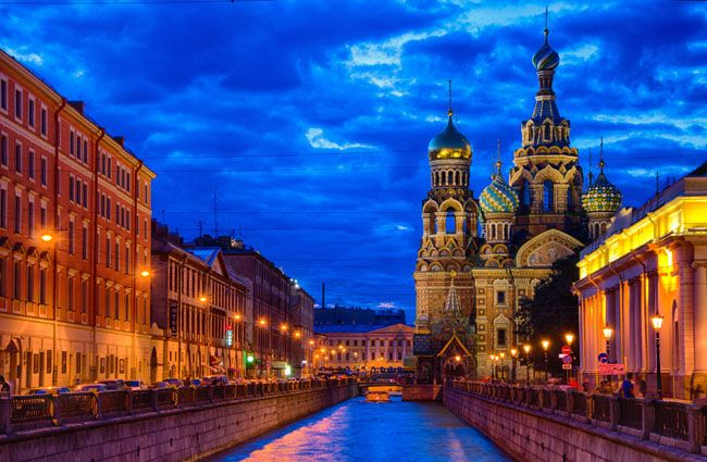 Church on Spilled Blood in St Petersburg, Russia at Night