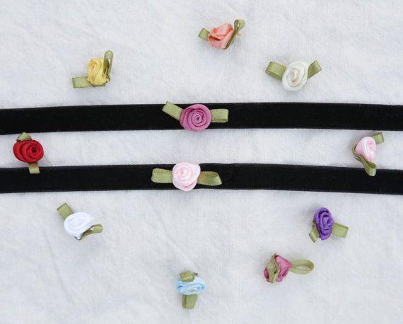 Black Velvet Rose Choker 90s Style Flower Choker by SlothAndCo