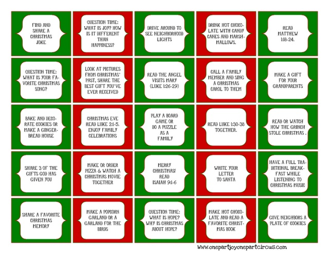 Advent daily activities {FREE} Printables for your homemade Advent Calendar!