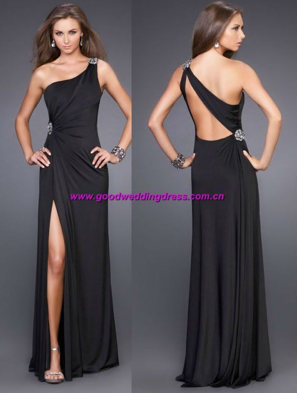 sexy espalda abierta un hombro vestidos de fiesta-Vestido de…