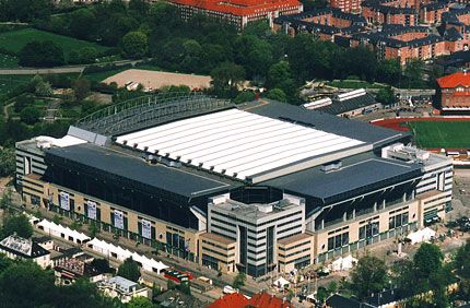 parken stadium in copenhagen has a retractable roof and can hold up to 38 000 spectators for. Black Bedroom Furniture Sets. Home Design Ideas