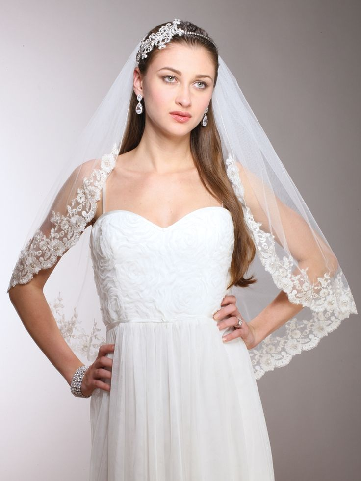 "Mariell 30"" Beaded Lace Wedding Veil 3771V - so elegant! affordableelegancebridal.com"
