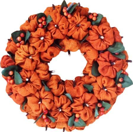 "-Product Type: Wreaths . -Length: Under 24"" . -Application: Outdoor . -Fresh: No. -- Dimensions: -12"" H x 12"" W x 3"" D: 0.6 lbs.-15"" H x 15"" W x 4"" D: 1 lbs. Burlap Pumpkin Wreath 12"" Use this beautif                                                                                                                                                                                 More"