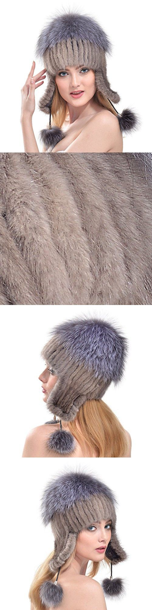 Queenfur Real Knit Mink Fur Hat Silver Fox Fur Pom Ear Protection Cap Fur Beanie (Grey)