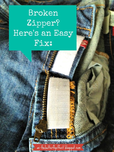 Have a broken zipper on your favorite jeans? Fix it with velcro!
