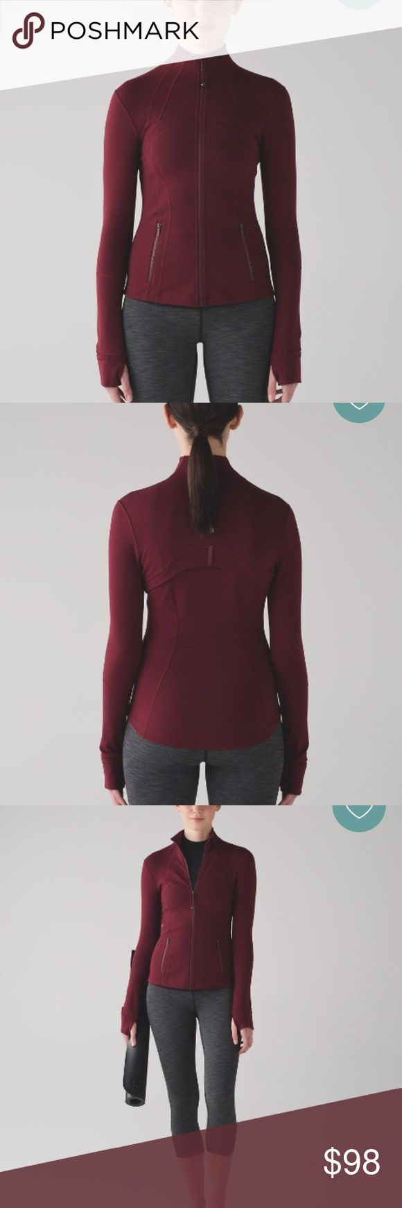 Lululemon define jacket in deep rouge Brand new define jacket in red rouge. I literally just pulled the tags off, tried it on, and my husband said he hates the color on me😩 So it was on for 30 seconds. You should buy it from me bc it's gorgeous and saves you a lot of money. I have sold 1,050 listings so I'm a trusted seller!!! lululemon athletica Jackets & Coats