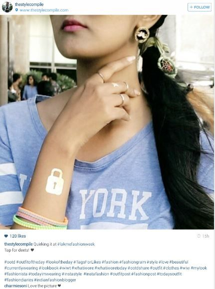 Throwback: Sarika Nagdeo, blogger wore our quirky mustache stud earrings to LEW. #throwback #blogger #LFW #quirky #earrings  Shop this look here >> http://buff.ly/1a8FLJJ