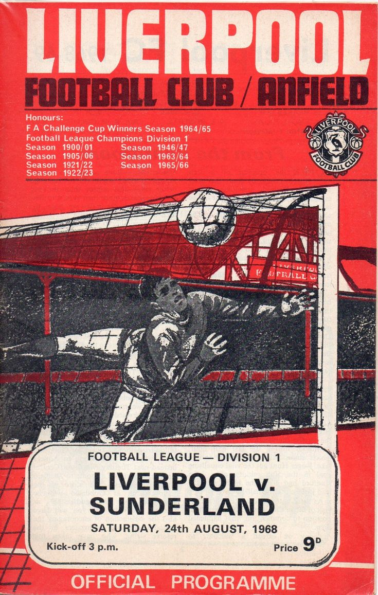 Liverpool 4 Sunderland 1 in Aug 1968 at Anfield. The programme cover #Div1