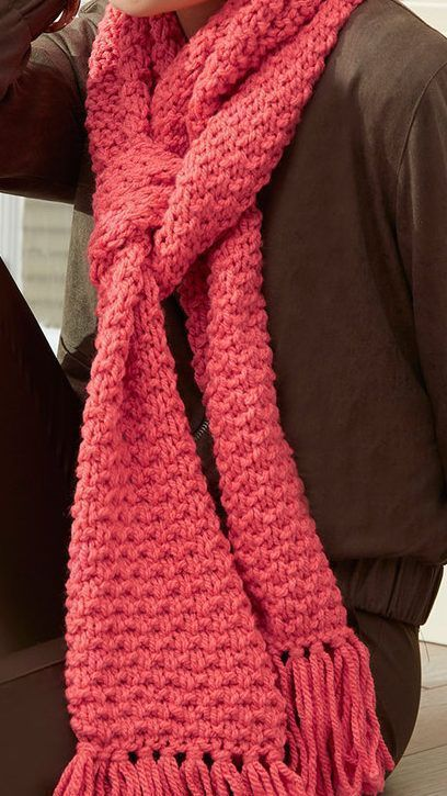 a7fbfd221d998 Free #knitting Pattern for Easy 4 Row Repeat Textured Scarf - This easy  scarf is knit with a 4 row repeat Reverse Sand Stitch. Quick knit in bulky  yarn.