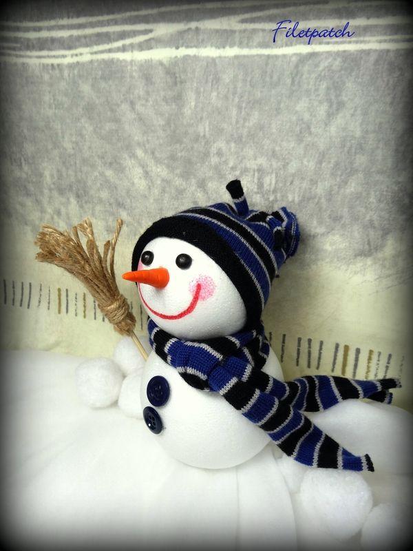 bonhommes de neige, déco de noël par filetpatch