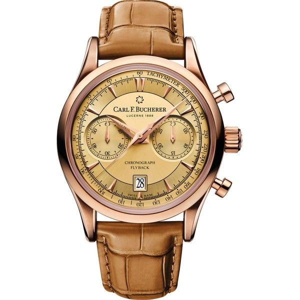 CARL F BUCHERER 00.10919.03.43.01 Manero Flyback 18ct rose gold and... ($14,625) ❤ liked on Polyvore featuring men's fashion, men's jewelry, men's watches, mens chronograph watches and mens rose gold watches