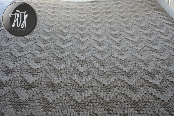 Handmade knitted blanket beige by HolaHandmade on Etsy