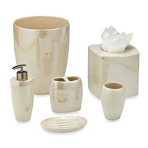 Akoya Pearlized Ceramic Bathroom Accessories in Ivory