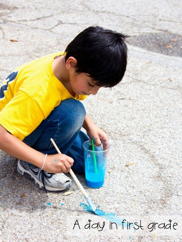 "liquid ""exploding"" chalk-- 1/3 cup water, 1/3 cup baking soda, 1/3 cup corn starch and food coloring (spray with vinegar to see it explode)"