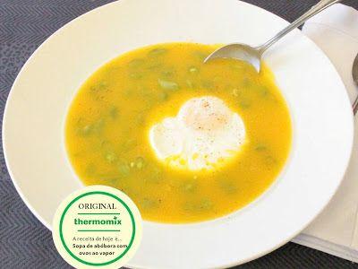 THERMOMIX: Sopa de abóbora e ovos ao vapor