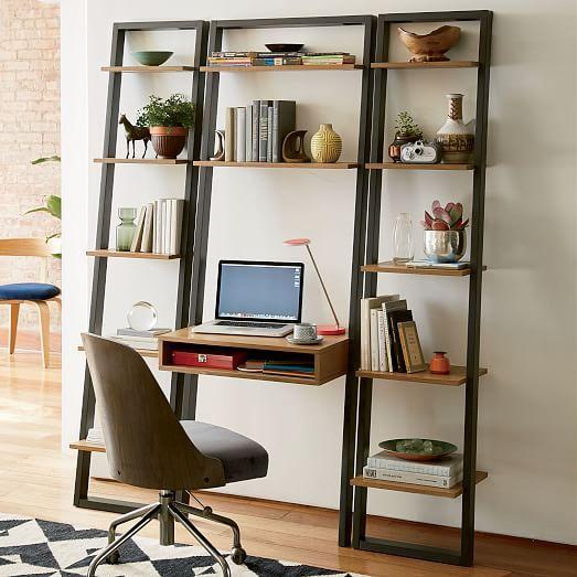 Ladder Shelf Desk-Basalt Gray/Oak