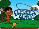 Para escrever as palavras que correspondem aos desenhos, ajude o índio a pescar as letras que passam pelo rio. Jogo educativo online com as letras do alfabeto.