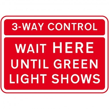 3 Way Control, Wait Here Until Green Light Shows (600 x 450MM) - Composite Aluminium    Our road and traffic signs are manufactured to the required standard of the Road Traffic Sign Manual and inform vehicles of any relevant hazards- also providing directional information. These signs are available in composite aluminium (3 mm) - also comes with rails.