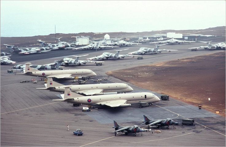 Harriers, Victors and Nimrods at Ascension Island awaiting the arrival of the Vulcans from RAF Waddington before the attacks could begin.    BLACK BUCK MEMORIES- In this exclusive article, Barry Masefield, relives his experiences back in 1982.     (This article first appeared in 'The Vulcan' Magazine within a special 20th Anniversary edition - May 2002)