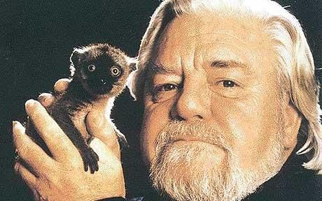 Gerald Durrell and a meerkat (at least I think it is a meerkat) Gerald Durrell's Jersey wildlife trust celebrates 50th anniversary