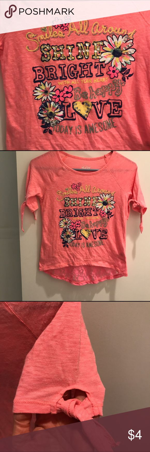 Justice Shirt 👚 Cute, Girl's Justice shirt with positive message.  This has been washed but never worn.  Tie sleeves and lacy hem in back.  Size 8.  Today is Awesome! Justice Shirts & Tops