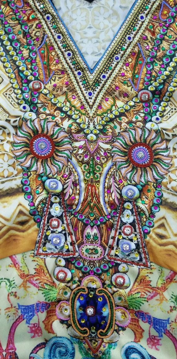 New Silk kaftan look & feel embroider crystal beaded kaftan