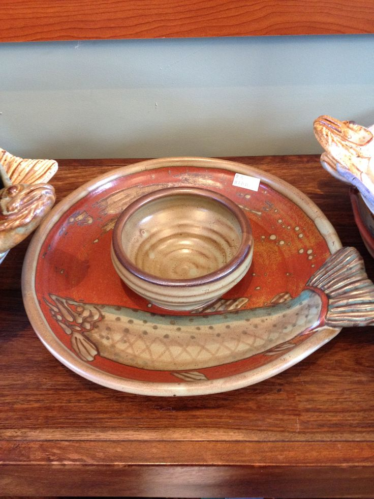 Chips n Dip fish platter #handmade #pottery #fishplatter #chipsndip available at http://www.sundanceandfriends.com/