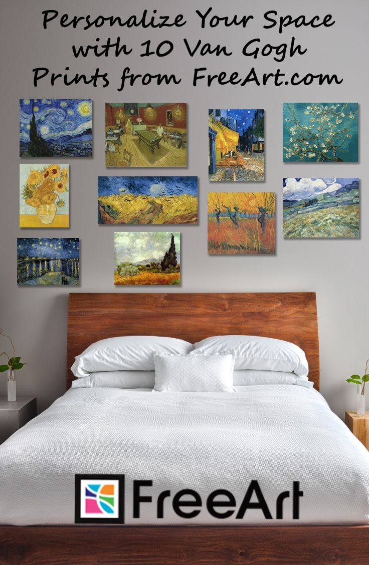 Choose up to 10 free Van Gogh art prints from more than 250 of Van Gogh's masterpieces.  Free small size of any artwork on the site ($1.99 s&h fee applies. Limit 10 per order.). Custom-size any art to the exact size and shape you want. All images offered in paper, canvas wrap, acrylic, or metal.