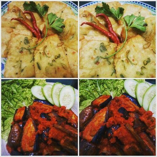 FRIED Leeks Tofu with spicy  fried eggplant! ^^