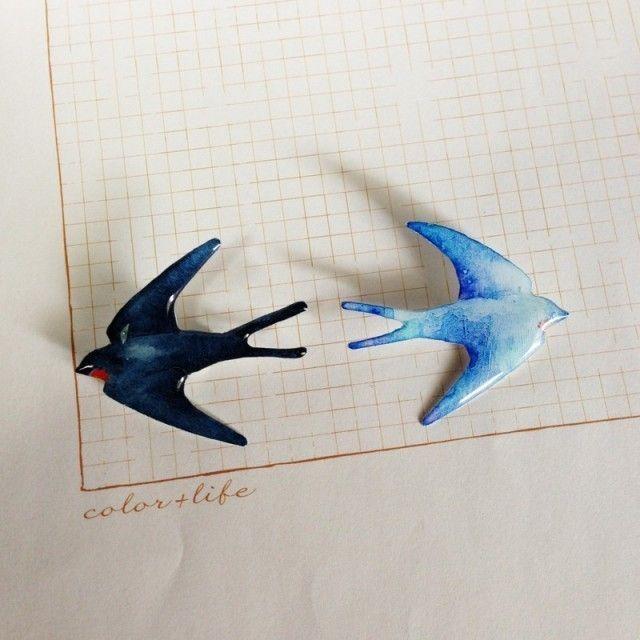 春連れツバメのプラ板ブローチ | iichi(いいち)| ハンドメイド・クラフト・手仕事品の販売・購入