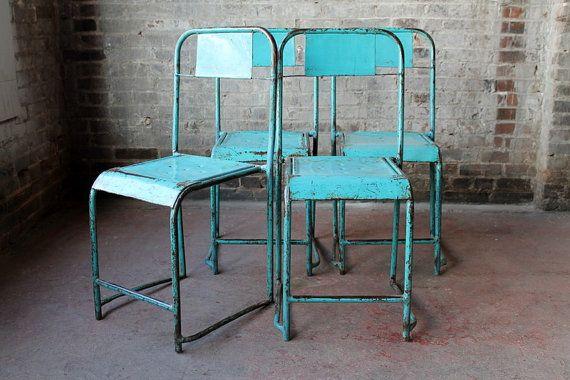 Superieur Set Of 2 Vintage Metal Stacking Chair By Hammerandhandimports