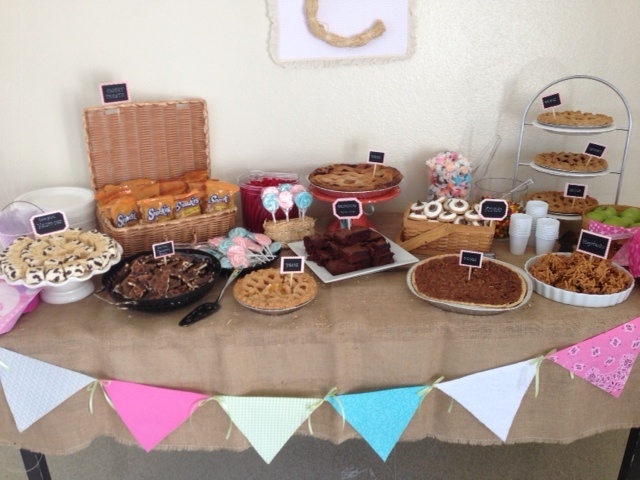 Close Up Of The Dessert Table For The Country Theme Baby Shower.