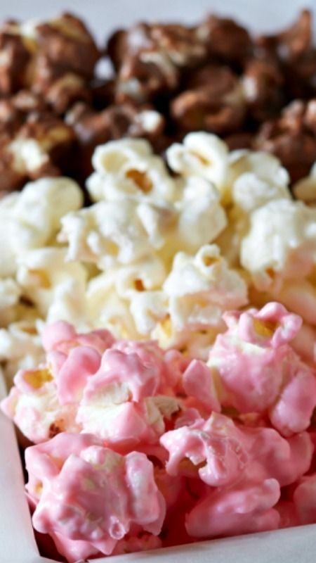 Neapolitan Popcorn ~ White chocolate, milk chocolate, and strawberry coated popcorn make up a delicious and beautiful dessert trio perfect for gifting and entertaining!