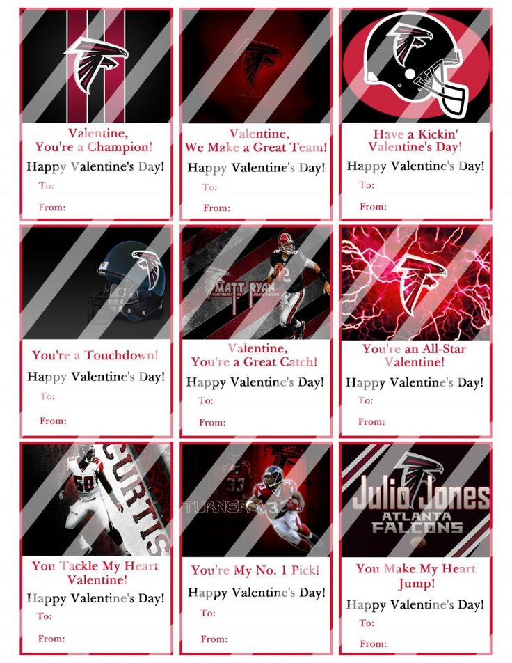 atlanta falcons valentines day cards sheet #2 (instant download or, Ideas