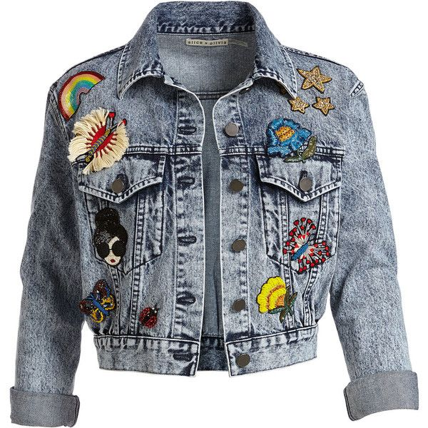 Alice + Olivia Chloe Cropped Denim Jacket with Patches (€400) ❤ liked on Polyvore featuring outerwear, jackets, tops, denim jacket, cotton jacket, cropped jacket, embellished denim jacket, long sleeve jean jacket and long sleeve jacket