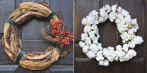DIY Tobacco Leaf Wreath & Cotton Wreath - Southern Holiday Wreaths | Garden and Gun