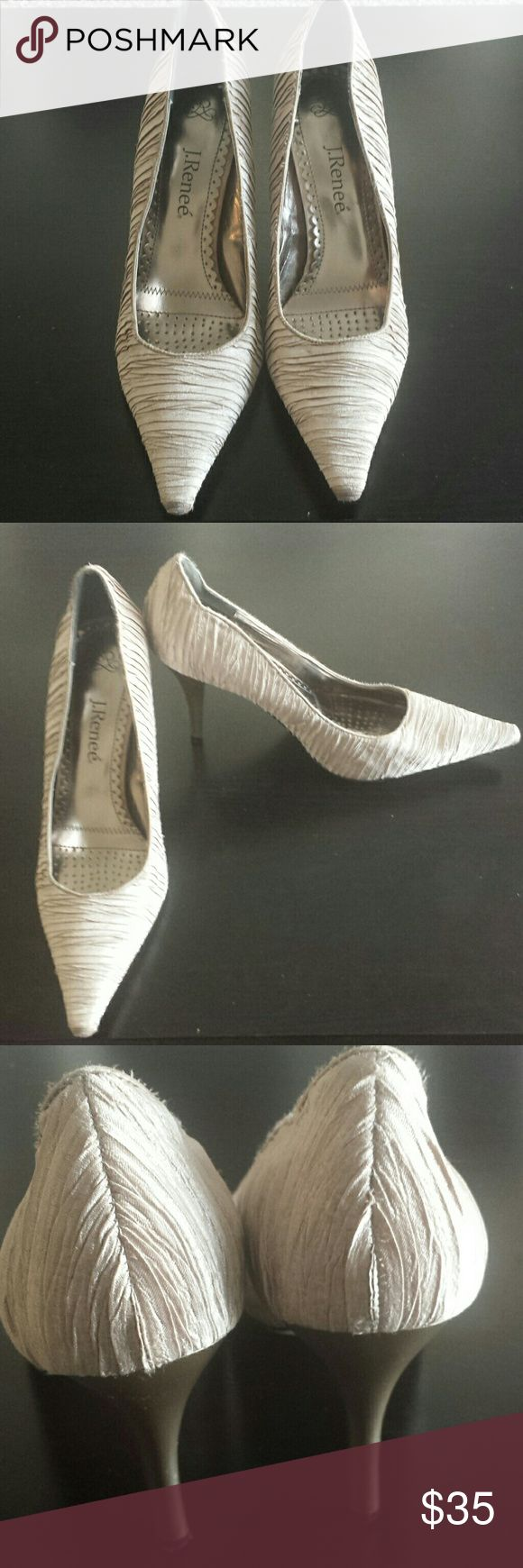 J. Renée champagne color size 11 shoes Like new. J. Renée champagne colored shoes. Great neutral color goes with everything. Size 11. Has a couple of water spots on right shoe. See pics. J. Renée Shoes Heels